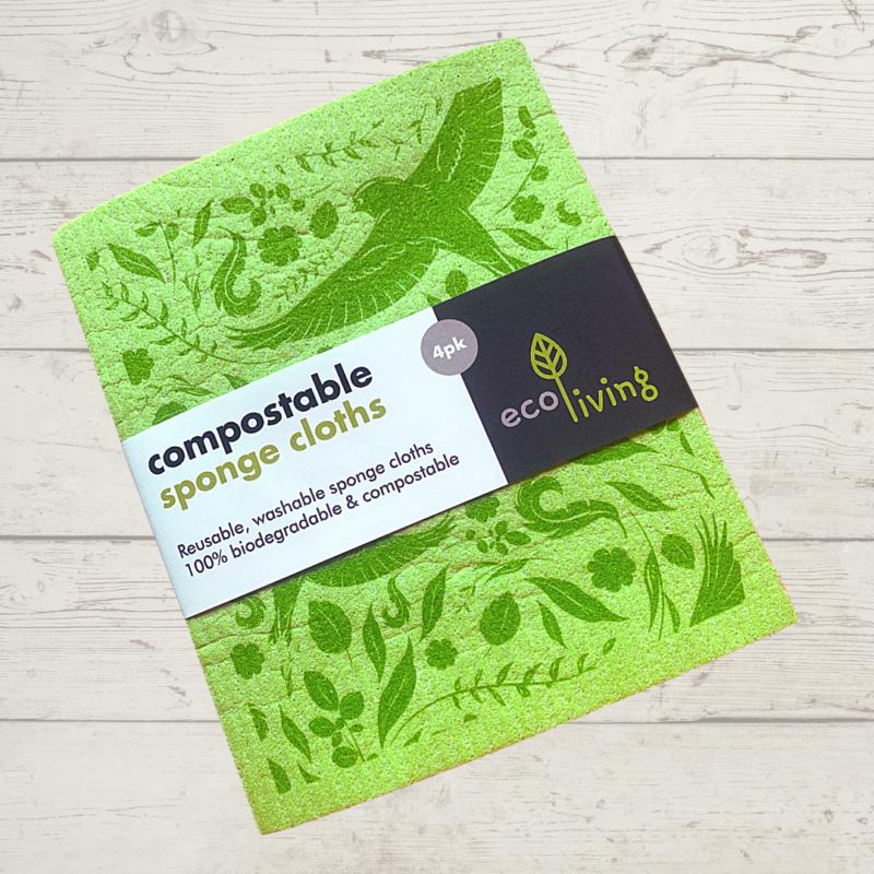 Eco Living Compostable Sponge Cloths 4 Pack